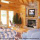 Living room with fireplace in cabin 207 (Count Your Blessings) at Eagles Ridge Resort at Pigeon Forge, Tennessee.