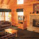 Living Room View of Cabin 224 (Southern Comfort) at Eagles Ridge Resort at Pigeon Forge, Tennessee.