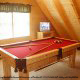 Game Room View with Pool Table of Cabin 228 (Lockers Lodge) at Eagles Ridge Resort at Pigeon Forge, Tennessee.