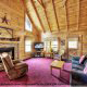 Living room with vaulted ceilings and fireplace in cabin 233 (Bear Creek Lodge) at Eagles Ridge Resort at Pigeon Forge, Tennessee.
