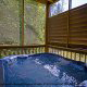 Outdoor hot tub in cabin 241 (Eagle Crest Lodge) at Eagles Ridge Resort at Pigeon Forge, Tennessee.