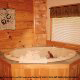 Private jacuzzi in cabin 255 (Happy Trails) at Eagles Ridge Resort at Pigeon Forge, Tennessee.