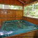 Hot Tub on Deck in Cabin 299 (Possum Hollow) at Eagles Ridge Resort at Pigeon Forge, Tennessee.