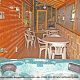 Deck with hot tub in cabin 305 (Bear Right In) at Eagles Ridge Resort at Pigeon Forge, Tennessee.