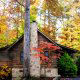 Outside View with Chimney of Cabin 57 (Bear Heaven) at Eagles Ridge Resort at Pigeon Forge, Tennessee.
