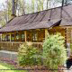 Landscaped Front View of Cabin 57 (Bear Heaven) at Eagles Ridge Resort at Pigeon Forge, Tennessee.