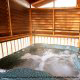 Hot Tub on Deck in Cabin 6 (On Eagles Wings) at Eagles Ridge Resort at Pigeon Forge, Tennessee.