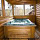 Hot Tub View of Cabin 74 (Gerralds Chalet) at Eagles Ridge Resort at Pigeon Forge, Tennessee.