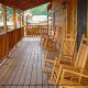 Large front porch in cabin 819 (mountain majesty) at Eagles Ridge Resort at Pigeon Forge, Tennessee.
