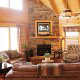 Great room with fireplace and vaulted ceiling in cabin 821 (Tranquil Times) at Eagles Ridge Resort at Pigeon Forge, Tennessee.