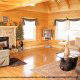 Living room with fireplace in cabin 853 (Beary Cozy) at Eagles Ridge Resort at Pigeon Forge, Tennessee.