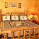 Country pine bedroom in cabin 854 (The Wagon Wheel Lodge) at Eagles Ridge Resort at Pigeon Forge, Tennessee.