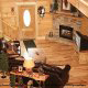Great room with fireplace in cabin 854 (The Wagon Wheel Lodge) at Eagles Ridge Resort at Pigeon Forge, Tennessee.