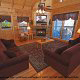 Living Room View of Cabin 858 (Eagles On A High) at Eagles Ridge Resort at Pigeon Forge, Tennessee.