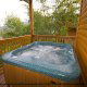 Hot Tub on Deck in Cabin 860 (Cozy Bear Overlook) at Eagles Ridge Resort at Pigeon Forge, Tennessee.