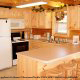 Country fully furnished kitchen in cabin 861 (Mountain View Lodge) at Eagles Ridge Resort at Pigeon Forge, Tennessee.