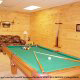 Game room with pool table in cabin 864 (Mountain View Lodge) at Eagles Ridge Resort at Pigeon Forge, Tennessee.