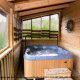 Hot Tub on Deck in Cabin 9 (Eagles Nest) at Eagles Ridge Resort at Pigeon Forge, Tennessee.