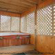 Hot Tub on Deck in Cabin 92 (Virginias Villa) at Eagles Ridge Resort at Pigeon Forge, Tennessee.