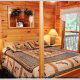 Country Bedroom View of Cabin 93 (Pirates Cove) at Eagles Ridge Resort at Pigeon Forge, Tennessee.