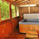 Hot Tub on Deck in Cabin 93 (Pirates Cove) at Eagles Ridge Resort at Pigeon Forge, Tennessee.