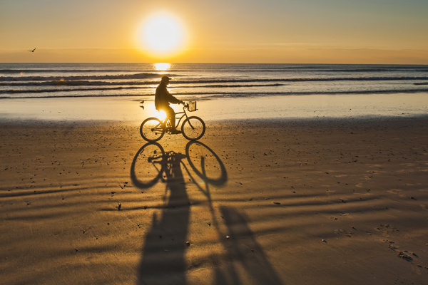 bicycle ride at sunrise on cocoa beach