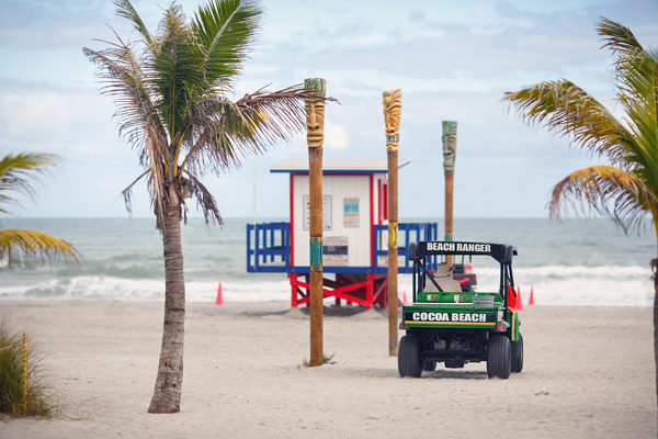 Typical colorful lifeguard house and Beach Rangers buggy