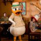 Donald Duck greets diners at one of the many restaurants at Disney\'s Animal Kingdom in Orlando, Florida.