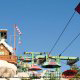 Mountain lift takes guests to the top to enjoy their ride at Disney\'s Blizzard Beach in Orlando, Florida.