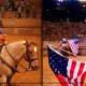 Audience members are invited to pet the horses following the show at the Dixie Stampede in Pigeon Forge, Tennessee
