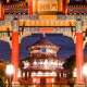 Asian village with Asian restaurants at Walt Disney\'s Epcot in Orlando Florida.