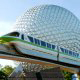 The Epcot icon planet and the monorail shuttle at Walt Disney\'s Epcot in Orlando Florida.