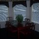 Cherry furniture in this dining room at The Suites At Fall Creek in Branson Missouri.