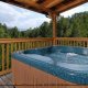 Hot Tub View of Mountain Lake Retreat Cabin at Gatlinburg, Tennessee.