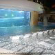 Indoor Pool with Shark Tank at Golden Nugget Hotel and Casino in Las Vegas, NV.