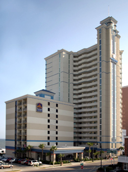 Another daytime look from outside at The Best Western Carolinian in Myrtle Beach