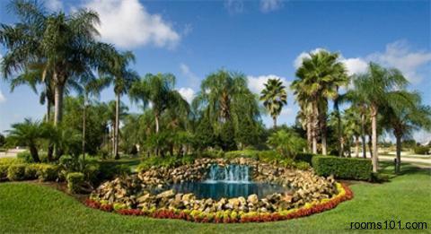 Beautiful Pond and Waterfall at Mystic Dunes Resort & Golf Club in Orlando, Florida.