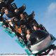 The Shamu roller coaster thrills riders on vacation to Seaworld in Orlando, Florida.
