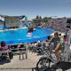 Shamu stadium with hundreds enjoying the show during their family vacation to Seaworld in Orlando, Florida.