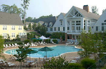 Heated Outdoor Pool View at Kings Creek Plantation in Williamsburg, VA. The resort offers the best value for affordable Presidents Day Family Getaway.