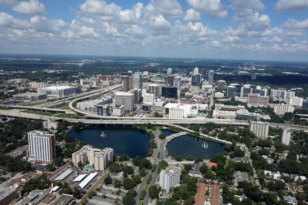 Aerial view of downtown Orlando, Florida