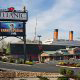 Outside with the Grand Opening sign at the Titanic Museum in Pigeon Forge, Tennessee