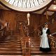 A recreation of the grand staircase on the Titanic greets guests at the Titanic Museum in Pigeon Forge, Tennessee