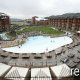 Aerial view of the resort and pool at the Wilderness Stone Hill Lodge in Pigeon Forge Tennessee.
